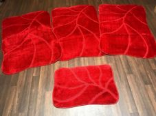 ROMANY WASHABLES NEW SUPER THICK RED SETS 4 NON SLIP GERMAN DESIGNS 80X120CM